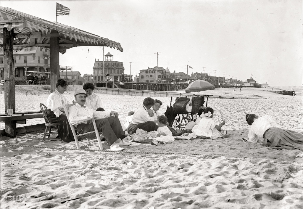 1910 Belmar New Jersey family on the beach