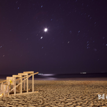 Moonlit lifeguard chair